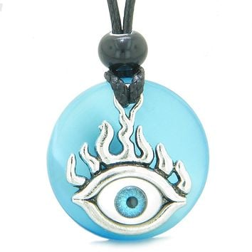 Cool Evil Eye Protection Flames Amulet Sky Blue Simulated Cats Eye Medallion Magic Powers Necklace