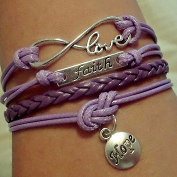Infinity love bracelet Hope bracelet Faith bracelet, Antique Silver Charm bracelet Purple wax cords and leather, Friendship Gift