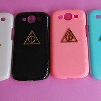 Harry Potter Deathly Hallow --Samsung Galaxy S3 case,Samsung galaxy S3,in black or white or green or red