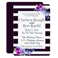Chic Purple, and White Stripes Floral Wedding Card