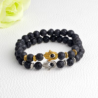 Hamsa Hand Charm Beaded Bracelet, with Black Natural Beads