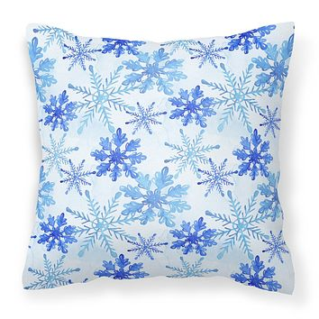 Blue Snowflakes Watercolor Fabric Decorative Pillow BB7484PW1414