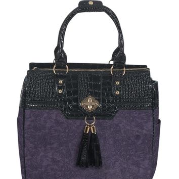 """ARRIVING FEBRUARY 27th-- """"THE CONTESSA"""" Purple & Alligator Rolling Laptop Carryall Trolley Bag"""