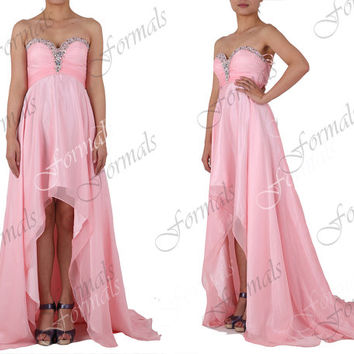 2014 Prom Dresses, High Low Prom Gown, Strapless Front Short Long Back Pink Prom Dresses, Green Evening Gown, High Low Formal Gown