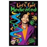 Wiz Khalifa - Let's Get Medicated Blacklight Poster - 22x34 custom fit with RichAndFramous Black 22 inch Poster Hangers