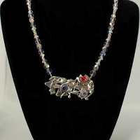 Spring Garden Fused Sterling Silver Necklace with Purple Beads