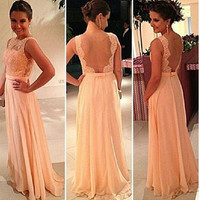 Pink Backless Dress Prom Dress [4919728452]