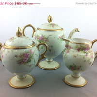 50% Off - Early Antique Nippon Teapot, Creamer, Sugar Dish. Porcelain handpainted Cherry Blossoms.