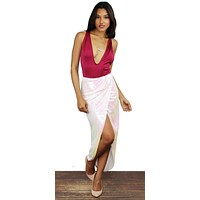 Effervescent White Litmus Sequin High Low Skirt