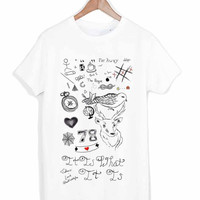 One Direction Louis Tomlinson Tattoos tshirt for merry christmas and helloween