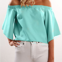 Off the Shoulder Bell Sleeve Blouse