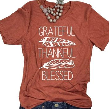 *grateful thankful blessed feather tee
