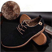 Pile Lined Suede Oxford Shoes