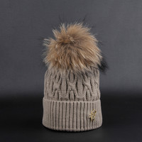 Fashion Beanies Cap With Real Rabbit Fur Pom Pom
