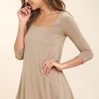 Twirl Power Taupe Swing Dress
