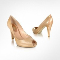 Mario Bologna Sand Patent Leather Peep-Toe Pump Shoes | FORZIERI