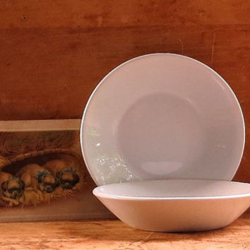 Vintage Ironstone Berry Bowls - Pair of Two Matching Johnson Brothers - England - White Iron Stone - Cottage Decor