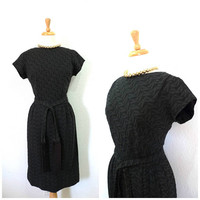 Vintage 1950s dress Black Eyelet cotton Fringe belt by Bonwit Teller Wiggle Cocktail party dress S/M