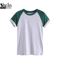 SheIn Summer 2017 Women T shirt Contrast Cuffed Raglan Sleeve Heathered Tee Color Block Short Sleeve Crew Neck Tee