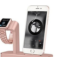 Apple Watch Series 3 Stand 2in1 Aluminum Apple Watch Charging Dock iPhone Charger Rose Gold