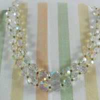 Lisner Aurora Borealis Double Strand Crystal Choker Necklace with Extender