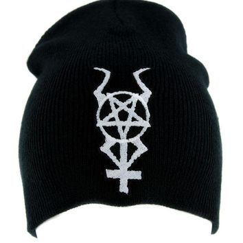 ac spbest Horned Inverted Pentacross Beanie Knit Cap Occult Clothing Black Metal Pentagram Cross