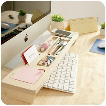 Fashion Wooden Desk Organizer Office Stationery Racks Personalized Desktop Pen Office Accessories Organizer Box