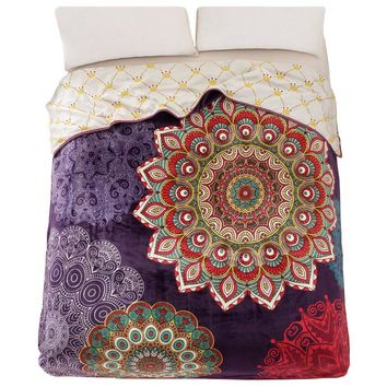 Boho Fleece Blanket Cover Queen Full size 200x230cm double Face print Plaid use as Bedsheet Bedspread Throw Coverlet Duvet cover