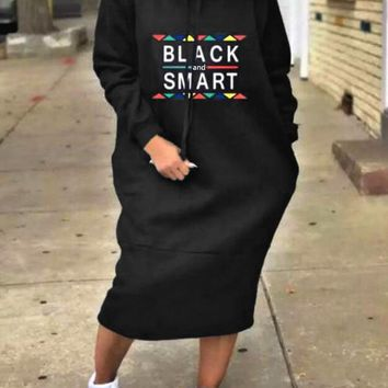 "Black ""BLACK SAMART"" Drawstring Pockets Long Sleeve Hooded Casual Maxi Dress"