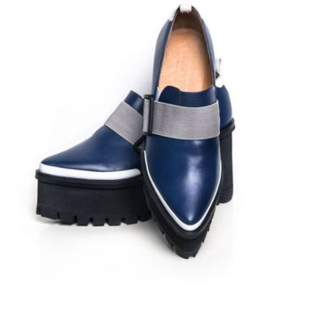 Jamie Wei Huang Georria leather platform loafer navy-grey