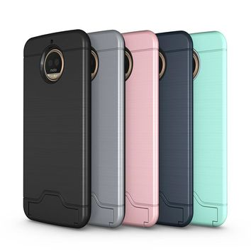 TopArmor Hybrid Wire Drawing Hard Armor Case Cover For Motorola Moto G5S Plus With Stand Card Holder Mobile Phone Shell Fundas
