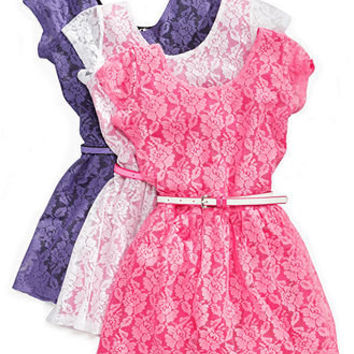 Planet Gold Kids Dress, Girls Lace Flare Dress - Kids Girls 7-16 - Macy's