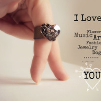 Leather Heart Ring, Statement Leather Ring, Bronze Grey Ring, Silver Heart, Leather Jewelery, Oversize Ring, I Love You Ring