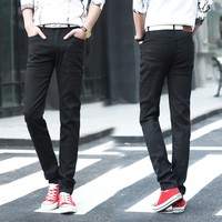 summer men fashion thin style black jeans men casual straight slim jeans