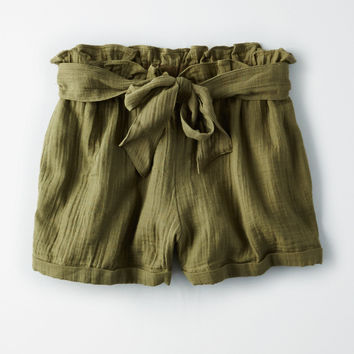 AE BOW BELT SHORTS, Olive