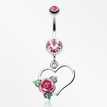 Heart Rose Belly Ring