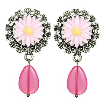 BodyJ4You Pink Rose Dangle Saddle Plugs 0G-18mm (2 Pieces)