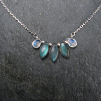 """Labradorite and Moonstone Tribal Feather Necklace in Sterling Silver - Boho Chic Pendant Necklace - 15 -16.5"""" Layering Necklace"""