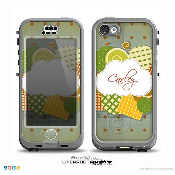 The Green Plaid & Polka Dotted Cloud Collage Name Script Skin for the iPhone 5c nüüd LifeProof Case