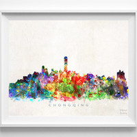 Chongqing Skyline Print, China Print, Chongqing Poster, China Cityscape, Watercolor Painting, Wall Art, Dorm Decor, Christmas Gift