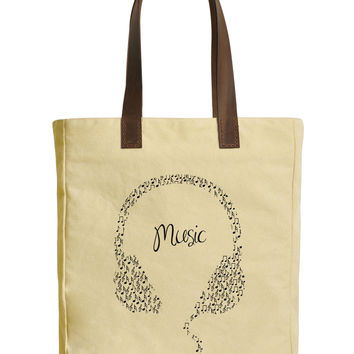 Headphones With Musical Notes Beige Print Canvas Tote Bag Leather Handles WAS_30