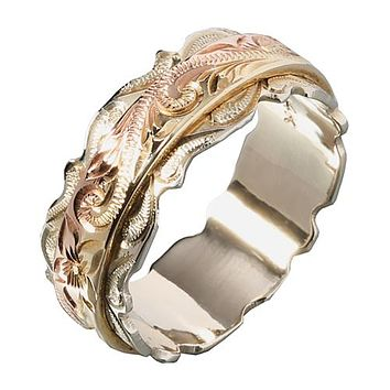 Hawaiian Scroll Engraving Heirloom Ring 14K Tri-gold Made Dougle Ring 8mm