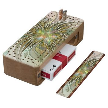 Floral Fantasy Modern Fractal Art Flower With Gold Cribbage Board