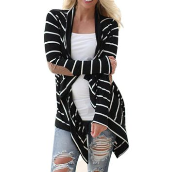 Black & White Casual Striped Cardigans with Patchwork