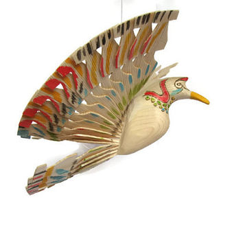 Woodlands Ceiling Decor, Hand Carved Wooden Bird Sculpture, Wooden Mobile for Nature Nursery, Home Country Wedding Decor, Wooden Art Gifts