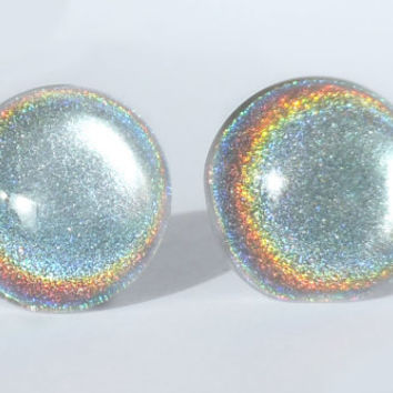 SALE - Earrings Glass Nail Polish Holographic Silver 14mm