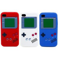 "Boho Tronics ® 3 Pack of Gameboy Like Super Realistic ""Flexa"" Silicone Cases - Compatible with Apple iPhone 4 4S 4G 16GB 32GB AT&T / Verizon / Sprint - Red, White, Blue"