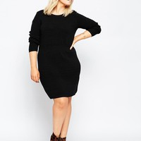 ASOS Curve | ASOS CURVE Waisted Knitted Dress In Rib at ASOS