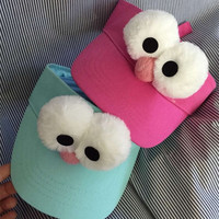 Cute Solid Big Eyes Sun Visor for Adult Child and Baby