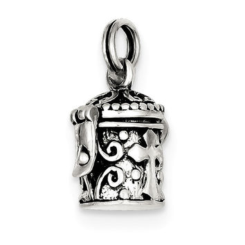 Sterling Silver Antiqued Cross Prayer Box Charm QC4465